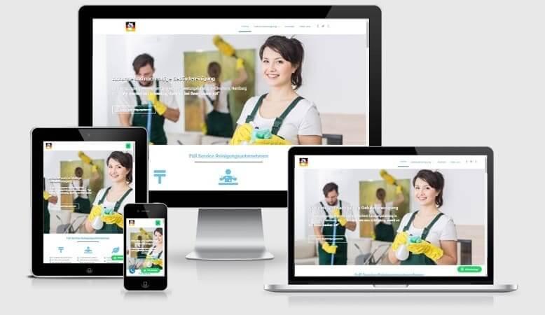 Webseitendesign-Beispiel als Portfolio: Webseite für Reinigungsservice Elmshorn